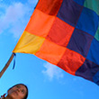 The Whipala flag which represents several Andean indigenous groups © EPA/Guillermo Legaria